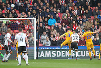 Sheffield United's John Egan scores his sides second goal <br /> <br /> Photographer Mick Walker/CameraSport<br /> <br /> The EFL Sky Bet Championship - Sheffield United v Preston North End - Saturday 22 September 2018 - Bramall Lane - Sheffield<br /> <br /> World Copyright &copy; 2018 CameraSport. All rights reserved. 43 Linden Ave. Countesthorpe. Leicester. England. LE8 5PG - Tel: +44 (0) 116 277 4147 - admin@camerasport.com - www.camerasport.com