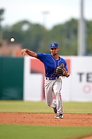 St. Lucie Mets shortstop J.C. Rodriguez (2) throws to first base during a game against the Florida Fire Frogs on July 23, 2017 at Osceola County Stadium in Kissimmee, Florida.  St. Lucie defeated Florida 3-2.  (Mike Janes/Four Seam Images)