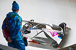 KRASNAYA POLYANA, RUSSIA  - JANUARY 17:<br /> USA-1, piloted by Steven Holcomb and brakeman Steven Langton, competes in the men's two-man bobsled at Sanki Sliding Center during the 2014 Sochi Olympics Monday February 17, 2014. USA-1 with Steven Holcomb, of Park City, Utah, and Steve Langton, of Melrose, Mass., won the bronze medal with a time of 3:46.27.<br /> (Photo by Chris Detrick/The Salt Lake Tribune)