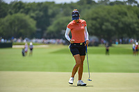 Azahara Munoz (ESP) gives a fist pump after draining her par putt on 4 during round 3 of the 2019 US Women's Open, Charleston Country Club, Charleston, South Carolina,  USA. 6/1/2019.<br /> Picture: Golffile | Ken Murray<br /> <br /> All photo usage must carry mandatory copyright credit (© Golffile | Ken Murray)