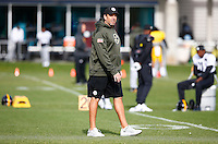 Offensive Coordinator Todd Haley of the Pittsburgh Steelers looks on during practice at the south side practice facility on November 18, 2015 in Pittsburgh, PA.
