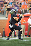 Wake Forest Demon Deacons wide receiver Alex Bachman (1) fields a kick-off during second half action against the Clemson Tigers at BB&T Field on October 6, 2018 in Winston-Salem, North Carolina. the Tigers defeated the Demon Deacons 63-3. (Brian Westerholt/Sports On Film)