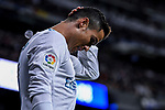 Cristiano Ronaldo of Real Madrid reacts during the La Liga 2017-18 match between Real Madrid and SD Eibar at Estadio Santiago Bernabeu on 22 October 2017 in Madrid, Spain. Photo by Diego Gonzalez / Power Sport Images
