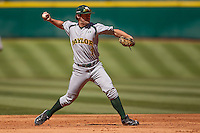 Baylor Bears shortstop Brett Doe #1 throws to first during the NCAA baseball game against the California Golden Bears on March 1st, 2013 at Minute Maid Park in Houston, Texas. Baylor defeated Cal 9-0. (Andrew Woolley/Four Seam Images).