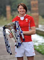 London, England. Wales captain Rachel Taylor poses with the Women's Six Nations trophy during the RBS Six Nations launch at The Hurlingham Club on January 23, 2013 in London, England.