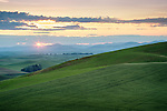 Washington, Eastern, Palouse, Spring sunrise over the rolling hills of the Palouse.