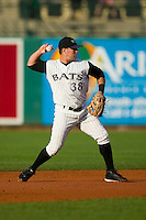 Louisville second baseman Aaron Herr (38) makes a throw to first base versus Charlotte at Louisville Slugger Field in Louisville, KY, Tuesday, June 5, 2007.