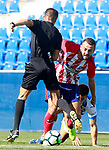 CD Leganes' Unai Bustinza (r), Atletico de Madrid's Keidi Bare (c) and the referee Carlos Del Cerro Grande during friendly match. August 12,2017. (ALTERPHOTOS/Acero)