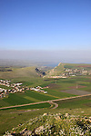 Israel, Lower Galilee, a view of Arbel valley, Mount Nitai and Mount Arbel from Horns of Hattin