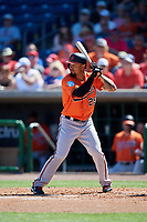 Baltimore Orioles third baseman Jace Peterson (29) at bat during a Grapefruit League Spring Training game against the Philadelphia Phillies on February 28, 2019 at Spectrum Field in Clearwater, Florida.  Orioles tied the Phillies 5-5.  (Mike Janes/Four Seam Images)