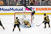 June 6, 2019: St. Louis Blues left wing David Perron (57) reacts to his goal against Boston Bruins goaltender Tuukka Rask (40) during game 5 of the NHL Stanley Cup Finals between the St Louis Blues and the Boston Bruins held at TD Garden, in Boston, Mass. The Blues defeat the Bruins 2-1 in regulation time. Eric Canha/CSM