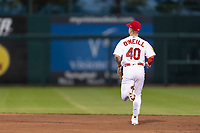 Springfield Cardinals left fielder Tyler O'Neill (40) jogs onto the field during a rehab assignment in a Texas League game against the Amarillo Sod Poodles on April 25, 2019 at Hammons Field in Springfield, Missouri. Springfield defeated Amarillo 8-0. (Zachary Lucy/Four Seam Images)