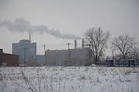 Detroit: paesaggio urbano. Un prato incolto ricoperto di neve. Alberi spogli e all'orizzonte edifici con comignoli fumanti.