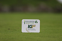 IGF tee marker during final day of the World Amateur Team Championships 2018, Carton House, Kildare, Ireland. 08/09/2018.<br /> Picture Fran Caffrey / Golffile.ie<br /> <br /> All photo usage must carry mandatory copyright credit (© Golffile | Fran Caffrey)