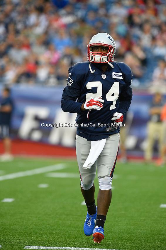 August 1, 2014 - Foxborough, Massachusetts, U.S.- New England Patriots cornerback Darrell Revis (24) warms up  during the New England Patriots training camp held at Gillette Stadium in Foxborough Massachusetts.  Eric Canha/CSM