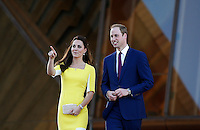 Prince William and his wife, Catherine the Duchess of Cambridge, leave the Opera House after a reception hosted by the NSW Governor in Sydney, April 16, 2014. Photo by Daniel Munoz/VIEWPRESS
