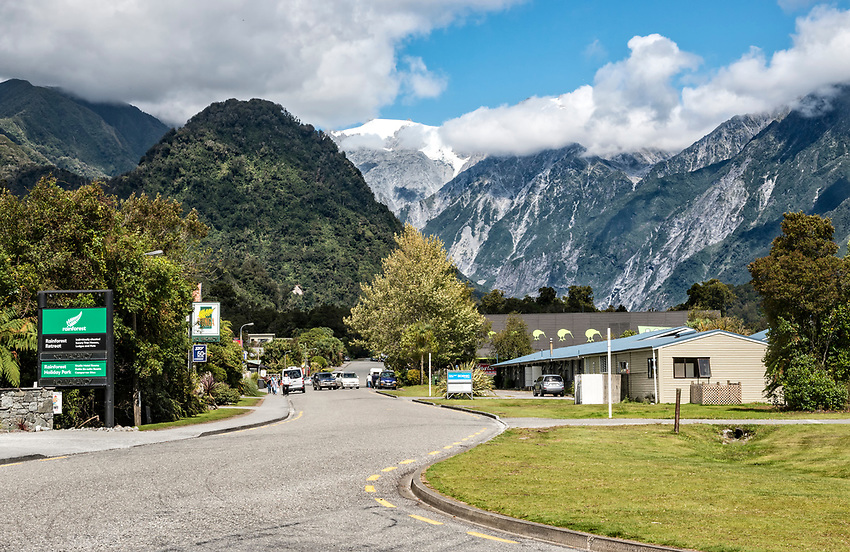 The tiny village of Franz Josef, located on the west coast of the south island of New Zealand