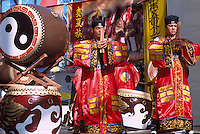 Taiko Drummers from Taiwan drumming on Taiko / Wadaiko Drums at Taiwanese Cultural Festival, Vancouver, British Columbia, Canada