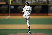 Wake Forest Demon Deacons starting pitcher Drew Loepprich (23) in action against the Richmond Spiders at David F. Couch Ballpark on March 6, 2016 in Winston-Salem, North Carolina.  The Demon Deacons defeated the Spiders 17-4.  (Brian Westerholt/Four Seam Images)