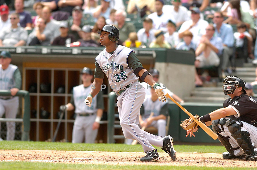 DELMON YOUNG, of the Tampa Bay Devil Rays, in action against the Chicago White SOX on August 31, 2006 in Chicago...Devil Rays win 5-3..David Durochik / SportPics