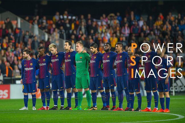 Players of FC Barcelona prior to the La Liga 2017-18 match between Valencia CF and FC Barcelona at Estadio de Mestalla on November 26 2017 in Valencia, Spain. Photo by Maria Jose Segovia Carmona / Power Sport Images