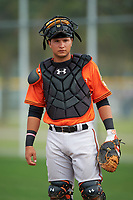 Baltimore Orioles Daniel Fajardo during a minor league Spring Training intrasquad game on April 2, 2016 at Buck O'Neil Complex in Sarasota, Florida.  (Mike Janes/Four Seam Images)