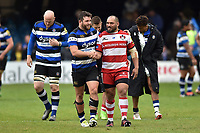 Nathan Catt of Bath Rugby and John Afoa of Gloucester Rugby shake hands after the match. Aviva Premiership match, between Bath Rugby and Gloucester Rugby on April 30, 2017 at the Recreation Ground in Bath, England. Photo by: Patrick Khachfe / Onside Images