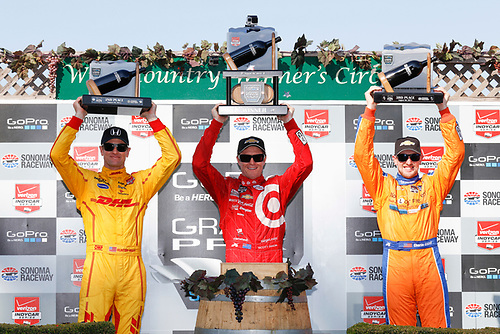 28-30 August, 2015, Sonoma, California, USA<br /> Ryan Hunter-Reay, Scott Dixon and Charlie Kimball in Victory Lane<br /> © 2015, Michael L. Levitt<br /> LAT Photo USA