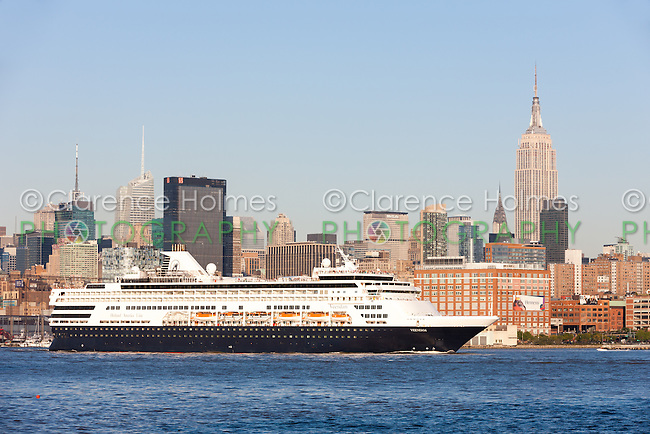 Holland America Line cruise ship M/S Veendam headed south on the Hudson River shortly after departing the New York City cruise terminal destined for Bermuda.