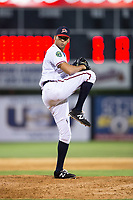 Danville Braves relief pitcher Kelvin Rodriguez (43) in action against the Princeton Rays at American Legion Post 325 Field on June 25, 2017 in Danville, Virginia.  The Braves walked-off the Rays 7-6 in 11 innings.  (Brian Westerholt/Four Seam Images)