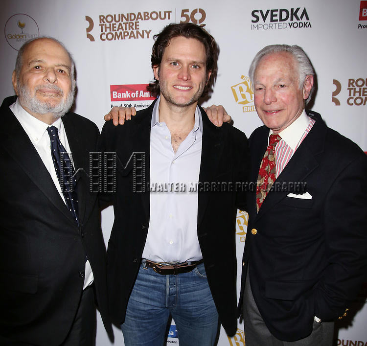 Alfred Uhry, Steven Pasquale and Robert Waldman attends 'The Robber Bridegroom' Off-Broadway Opening Night performance press reception at Laura Pels Theatre on March 13, 2016 in New York City.