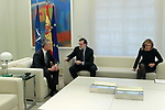 The President of the Government of Spain, Mariano Rajoy (c) and the Minister of Defense Maria Dolores de Cospedal (r), receive the Secretary General of NATO Jens Stoltenberg at the Moncloa Palace. January 25,2018. (ALTERPHOTOS/Acero)