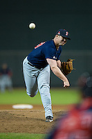 Salem Red Sox relief pitcher Austin Maddox (38) in action against the Winston-Salem Dash at BB&T Ballpark on April 15, 2016 in Winston-Salem, North Carolina.  The Red Sox defeated the Dash 3-2.  (Brian Westerholt/Four Seam Images)