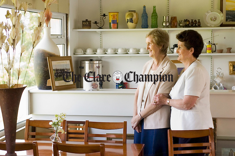 Sr Margaret Mc Allen, of the Little Company of Mary, with her sister Anne Broderick in the charity coffee shop in Killlanena. Photograph by John Kelly.