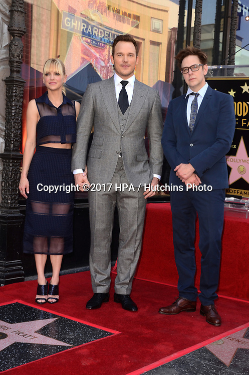 LOS ANGELES - APR 21:  Anna Faris, James Gunn, Chris Pratt at the Walk of Fame Star Ceremony on the Hollywood Walk of Fame on April 21, 2017 in Los Angeles, CA