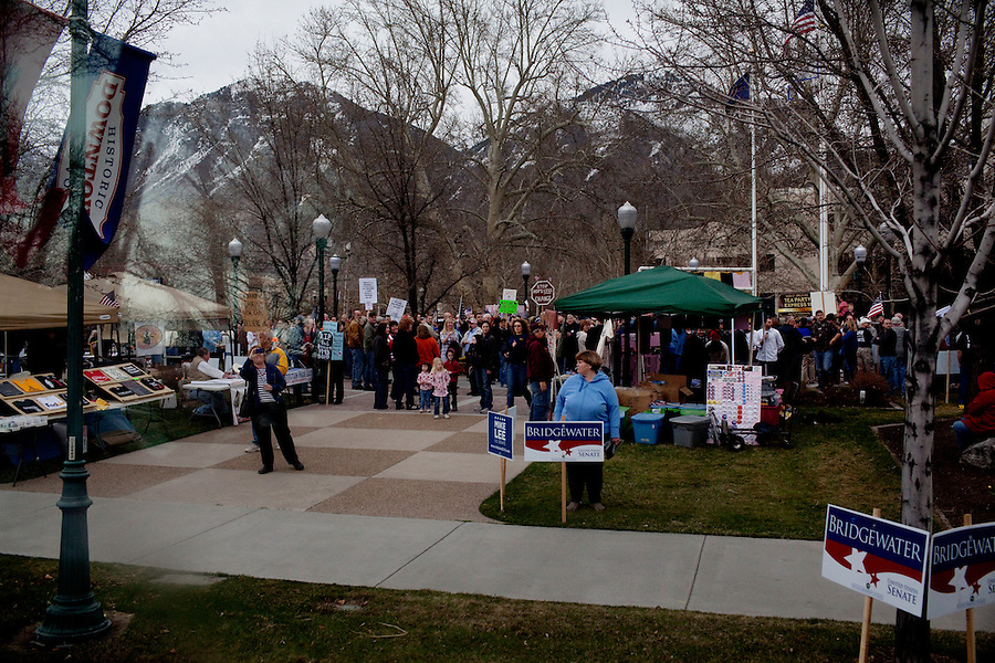 Provo, Utah, March 30, 2010 - Tea Party supporters gathered at a rally outside the Historic Utah County Courthouse for the sixth stop in their 43 city tour across America..