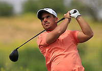 Lukas Tintera (CZE) on the 1st tee during Round 1 of the Challenge de Madrid, a Challenge  Tour event in El Encin Golf Club, Madrid on Wednesday 22nd April 2015.<br /> Picture:  Thos Caffrey / www.golffile.ie