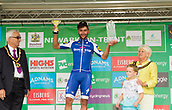 6th September 2017, Mansfield, England; OVO Energy Tour of Britain Cycling; Stage 4, Mansfield to Newark-On-Trent;  Stage 4 winner, Fernando Gaviria team-leader of  Quick Step Floors, receives his winners trophies on the podium at the end of the stage