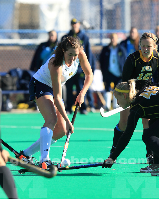 The No. 7 University of Michigan field hockey team defeated No.4 Iowa 4-1 in the semi final round of the 2011 Big Ten Tournament at Penn State University, State College, Pa., on November 4, 2011