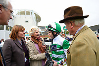 Connections of Caiya talk to jockey Charles Bishop after winning The Byerley Stud EBF Fillies' Novice Stakes   during Bathwick Tyres Reduced Admission Race Day at Salisbury Racecourse on 9th October 2017