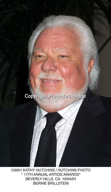 "©2001 KATHY HUTCHINS / HUTCHINS PHOTO."" 17TH ANNUAL ARTIOS AWARDS"".BEVERLY HILLS, CA. 10/04/01.BERNIE BRILLSTEIN"
