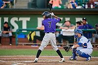 Cristopher Navarro (7) of the Grand Junction Rockies bats in front of catcher Tre Todd (11) during a game against the Ogden Raptors at Lindquist Field on September 7, 2018 in Ogden, Utah. The Rockies defeated the Raptors 8-5. (Stephen Smith/Four Seam Images)