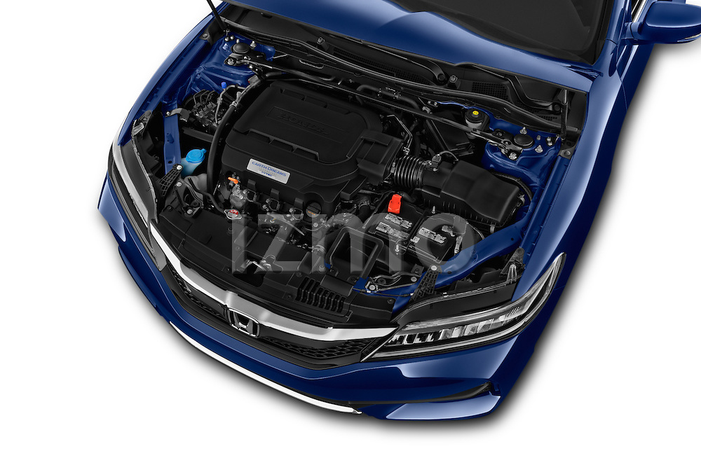 Car Stock 2017 Honda Accord Touring 2 Door Coupe Engine high angle detail view