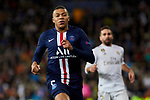 Dani Carvajal of Real Madrid and Kylian Mbappe of Paris Saint-Germain FC during UEFA Champions League match between Real Madrid and Paris Saint-Germain FC at Santiago Bernabeu Stadium in Madrid, Spain. November 26, 2019. (ALTERPHOTOS/A. Perez Meca)