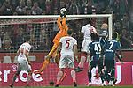 15.04.2019, Rheinenergiestadion, K&ouml;ln, GER, DFL, 2. BL, 1. FC Koeln vs Hamburger SV, DFL regulations prohibit any use of photographs as image sequences and/or quasi-video<br /> <br /> im Bild Julian Pollersbeck (#1, Hamburger SV) pariert den Ball vor Jhon Cordoba (#15, 1.FC K&ouml;ln / Koeln)  <br /> <br /> Foto &copy; nph/Mauelshagen