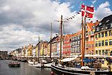 DENMARK, Copenhagen, Danish Flag on Boats in Nyhavn district, Europe