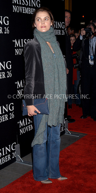 Keri Russell at the premiere of 'The Missing.' New York, November 16, 2003. Please byline: AJ SOKLANER/NY Photo Press.   ..*PAY-PER-USE*      ....NY Photo Press:  ..phone (646) 267-6913;   ..e-mail: info@nyphotopress.com