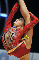 Yana Lukonina of Russia performs with clubs during All Around at World Cup Montreal on January 29, 2011.  (Photo by Tom Theobald).