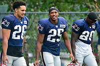 August 3, 2017: New England Patriots defensive back Eric Rowe (25) walks to practice at the New England Patriots training camp held at Gillette Stadium, in Foxborough, Massachusetts. Eric Canha/CSM