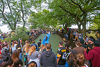 11 September 2018 - Pittsburgh, Pennsylvania - Hundreds of fans mourn the death of rapper MAC MILLER at a public vigil held at Frick Park&rsquo;s Blue Slide playground which he named his 2011 debut album after. Fans gathered to pay their respects at his childhood hangout spot four days after news broke that he died at the age of 26 at his Los Angeles home. <br /> CAP/ADM/MJT<br /> &copy; MJT/ADM/Capital Pictures